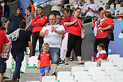 Young England fans arrive for the match during the Euro 2016 Group B match between Slovakia and England at Stade Geoffroy Guichard, Saint-Etienne, France on 20 June 2016. Photo by Phil Duncan.