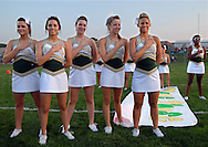 11 SEPT. 2009 -- ST. LOUIS -- Lindbergh High School cheerleaders pause for the National Anthem before the start of the game between the Flyers and Oakville High School Friday, Sept. 11, 2009. Lindbergh led Oakville 14-0 at halftime on a pair of touchdowns by running back Eric Schwartz. Photo © copyright 2009 by Sid Hastings.