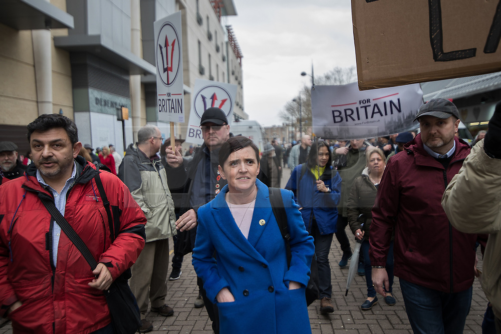 © Licensed to London News Pictures . 24/03/2018. Birmingham, UK. For Britain party leader ANNE-MARIE WATERS speaks to media at a Football Lads Alliance demonstration against Islam and extremism in Birmingham City Centre . Offshoot group, The True Democratic Football Lads Alliance, also hold a separate demonstration . Photo credit: Joel Goodman/LNP