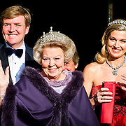 Crown Prince Willem-Alexander, left, Queen Beatrix, center, and Princess Maxima, right, arrive for a dinner with members of the royal family and guests at the Rijksmuseum in Amsterdam, The Netherlands, on Monday night, April 29, 2013. HANDOUT/ROBIN UTRECHT