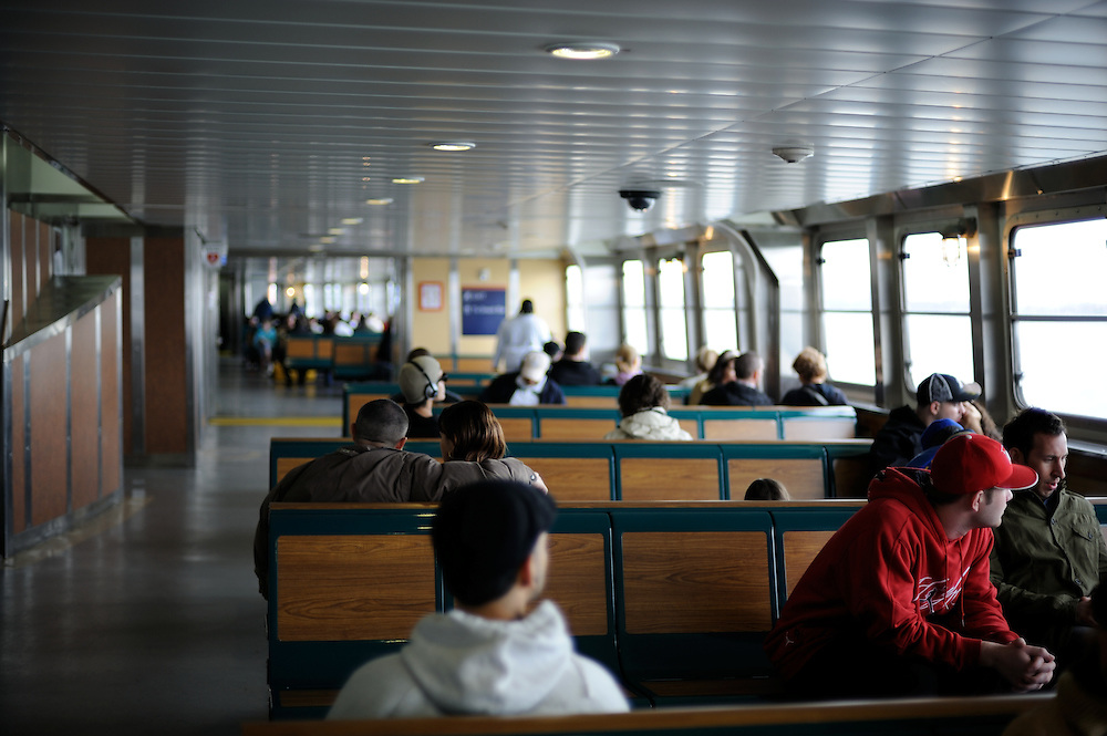 Passengers on their way to New York City via the Staten Island Ferry.