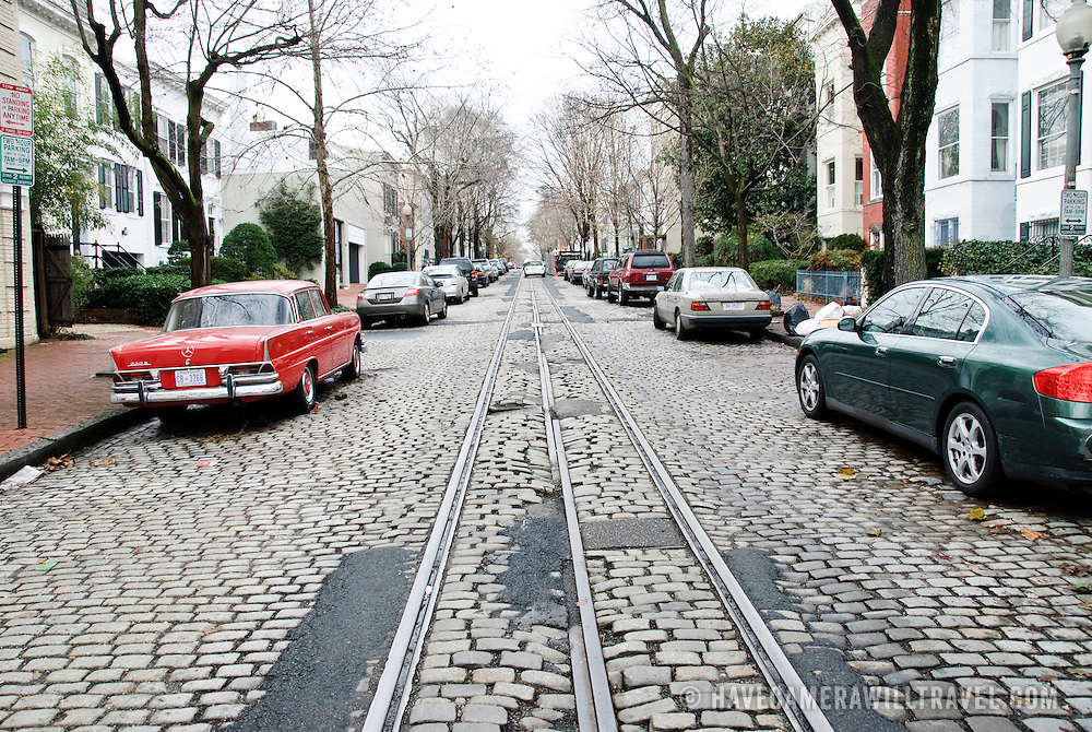 Cobblestone street with tram tarcks in Georgetown, Washington DC