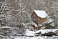 67395-04310 Glade Creek Grist Mill in winter, Babcock State Park, WV