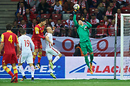 Warsaw, Poland - 2017 October 08: Goalkeeper Wojciech Szczesny of Poland fists the ball during soccer match Poland v Montenegro - FIFA 2018 World Cup Qualifier at PGE National Stadium on October 08, 2017 in Warsaw, Poland.<br /> <br /> Mandatory credit:<br /> Photo by © Adam Nurkiewicz / Mediasport<br /> <br /> Adam Nurkiewicz declares that he has no rights to the image of people at the photographs of his authorship.<br /> <br /> Picture also available in RAW (NEF) or TIFF format on special request.<br /> <br /> Any editorial, commercial or promotional use requires written permission from the author of image.