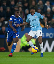 Nampalys Mendy of Leicester City (L) and Raheem Sterling of Manchester City in action - Mandatory by-line: Jack Phillips/JMP - 26/12/2018 - FOOTBALL - King Power Stadium - Leicester, England - Leicester City v Manchester City - English Premier League