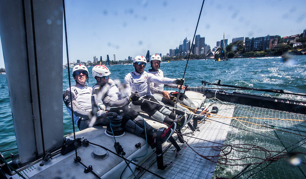 The Extreme Sailing Series 2016. Alinghi : Arnaud Psarofaghis, Nicolas Charbonnier,Nils Frei, Yves Detrey, Timothé Lapauw. Act 8.Sydney,Australia. 8th-11th December 2016. Credit - Jesus Renedo/Lloyd Images