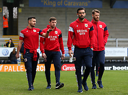 Bailey Wright, Frank Fielding, Marlon Pack and Nathan Baker of Bristol City arrive at The Pirelli Stadium for the Sky Bet Championship match with Burton Albion - Mandatory by-line: Robbie Stephenson/JMP - 10/03/2018 - FOOTBALL - Pirelli Stadium - Burton upon Trent, England - Burton Albion v Bristol City - Sky Bet Championship