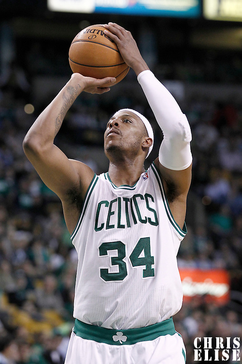 10 May 2012: Boston Celtics small forward Paul Pierce (34) is seen at the free throw line during the Boston Celtics 83-80 victory over the Atlanta Hawks, in Game 6 of the Eastern Conference first-round playoff series, at the TD Banknorth Garden, Boston, Massachusetts, USA.