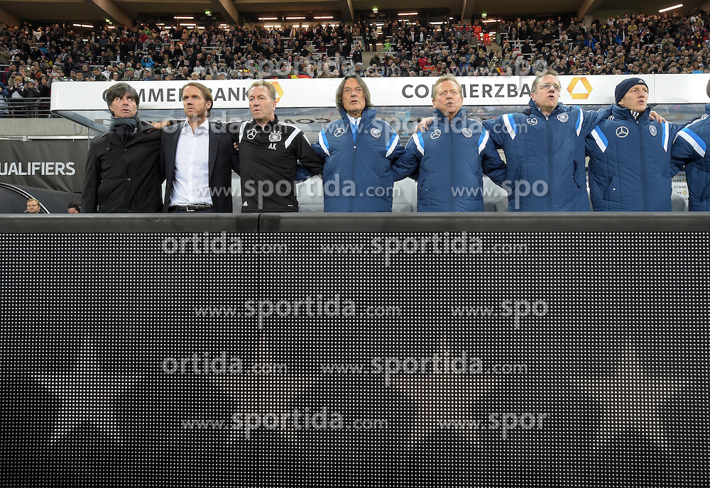 11.10.2015, Stadion Leipzig, Leipzig, GER, UEFA Euro Qualifikation, Deutschland vs Georgien, Gruppe D, im Bild Bundestrainer Joachim, Jogi Loew, GER Co-Trainer Thomas Schneider, GER Torwarttrainer Andy, Andreas Koepke (l-r) und andere Mitglieder des Betreuerteams vor der LED-Bande mit vier Sternen. // during the UEFA EURO 2016 qualifier group D match between Germany and Georgia at the Stadion Leipzig in Leipzig, Germany on 2015/10/11. EXPA Pictures &copy; 2015, PhotoCredit: EXPA/ Eibner-Pressefoto/ Ostpix<br /> <br /> *****ATTENTION - OUT of GER*****