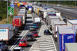 &copy; Licensed to London News Pictures. 17/08/2016<br /> SEVERE TRAFFIC DELAYS IN KENT.<br /> Traffic on the A2 NEAR Bluewater.<br /> <br /> QE2 Bridge is closed in Dartford,Kent in both directions after an accident at 2am this morning (17.08.2016).    The closure is causing severe traffic on the M25 AND A2 both of which are at a standstill.<br /> <br /> (Byline:Grant Falvey/LNP)