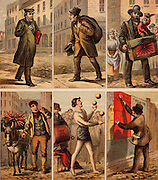 London street scenes. Messenger: Old Clothes Man: Organ Grinder: Vegetable Seller: Juggler: Billposter. Illustrations by Horace William Petherick (1839-1919) for a children's book published London c1875. Chromolithograph