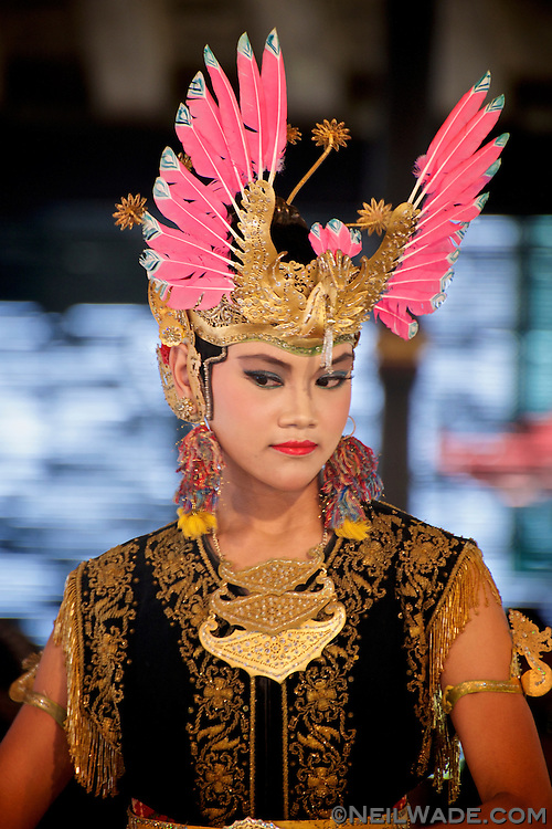 A traditional gamelan dancer performs in Yogyakarta, Indonesia.