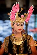 A traditional gamelan dancer performs in Yogyakarta, Indonesia.