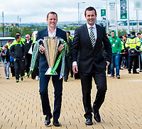 24/05/15 SCOTTISH PREMIERSHIP<br /> CELTIC v INVERNESS CT<br /> CELTIC PARK - GLASGOW<br /> Celtic manager Ronny Deila (right) joins Harald Brattbakk as the Scottish Premiership trophy is carried into Celtic Park