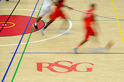 RSG sponsor on the basketball court - Photo mandatory by-line: Dougie Allward/JMP - Mobile: 07966 386802 - 15/11/14 - SPORT - Basketball - Bristol - SGS Wise Campus - Bristol Flyers v Cheshire Phoenix - British Basketball League