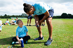 Chris Vui speaks to a young supporter at the Bristol Bears Community Foundation Summer Holiday Camp at Old Bristolians RFC - Mandatory by-line: Dougie Allward/JMP - 15/08/2018 - Rugby
