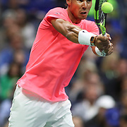 2017 U.S. Open Tennis Tournament - DAY SIX. Rafael Nadal of Spain in action against Leonardo Mayer of Argentina in the Men's Singles round three match at the US Open Tennis Tournament at the USTA Billie Jean King National Tennis Center on September 02, 2017 in Flushing, Queens, New York City.  (Photo by Tim Clayton/Corbis via Getty Images)