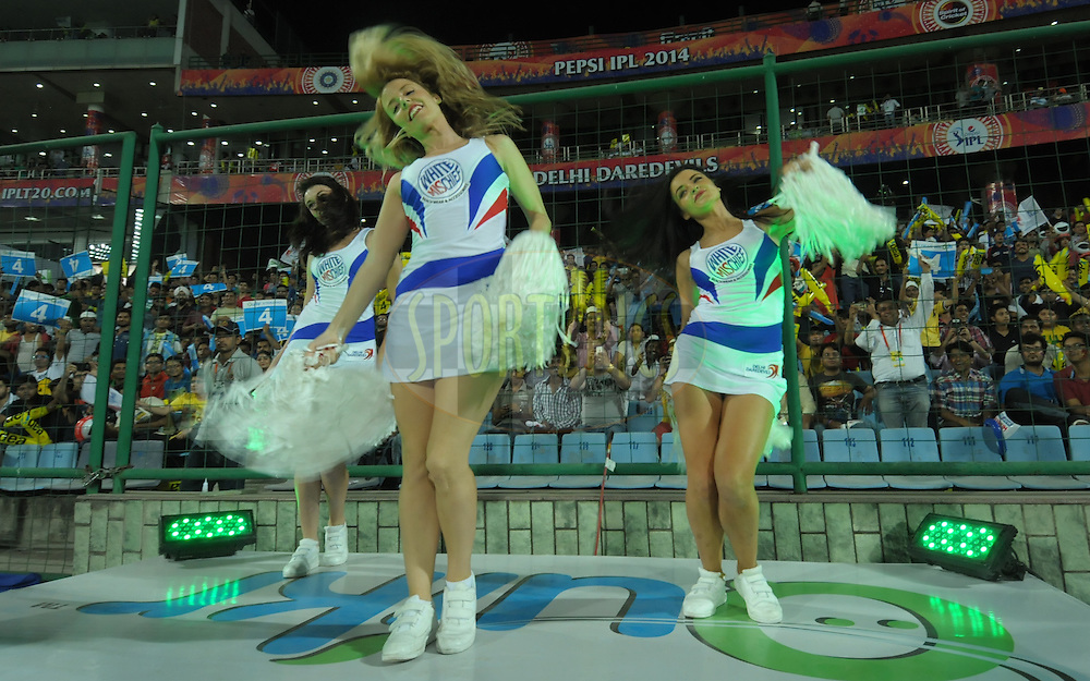 Delhi Daredevils cheer leaders  performed during match 23 of the Pepsi Indian Premier League Season 2014 between the Delhi Daredevils and the Rajasthan Royals held at the Feroze Shah Kotla cricket stadium, Delhi, India on the 3rd May  2014<br /> <br /> Photo by Arjun Panwar / IPL / SPORTZPICS<br /> <br /> <br /> <br /> Image use subject to terms and conditions which can be found here:  http://sportzpics.photoshelter.com/gallery/Pepsi-IPL-Image-terms-and-conditions/G00004VW1IVJ.gB0/C0000TScjhBM6ikg