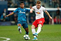November 4, 2019, Saint Petersburg, USA: SAINT PETERSBURG, RUSSIA - NOVEMBER 05: midfielder Wilmar Barrios of FC Zenit and defender Marcel Halstenberg of RB Leipzig in action during UEFA Champions League match FC Leipzig at FC Zenit on November 05, 2019, at Saint Petersburg Stadium in Saint Petersburg, Russia. (Photo by Anatoliy Medved/Icon Sportswire) (Credit Image: © Anatoliy Medved/Icon SMI via ZUMA Press)