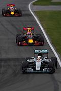 June 9-12, 2016: Canadian Grand Prix. Lewis Hamilton (GBR), Mercedes, Max Verstappen, Red Bull , Daniel Ricciardo (AUS), Red Bull