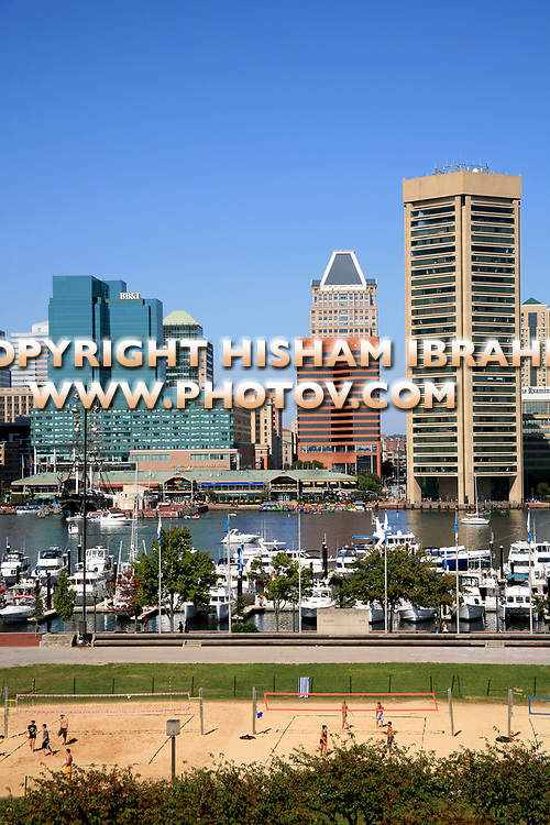 Baltimore Skyline, Featuring the World Trade Center and Chesapeake Bay - Baltimore, Maryland, USA.