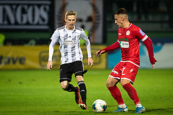 Žan Karničnik of Mura and Tilen Pečnik of Aluminij during football match between NŠ Mura and NK Aluminij in 17th Round of Prva liga Telekom Slovenije 2019/20, on November 10, 2019 in Fazanerija, Murska Sobota, Slovenia. Photo by Blaž Weindorfer / Sportida