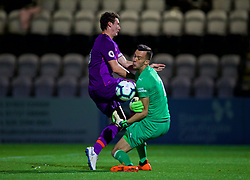 LONDON, ENGLAND - Friday, August 17, 2018: Liverpool's captain Matty Virtue and Arsenal's goalkeeper Deyan Iliev during the Under-23 FA Premier League 2 Division 1 match between Arsenal FC and Liverpool FC at Meadow Park. (Pic by David Rawcliffe/Propaganda)