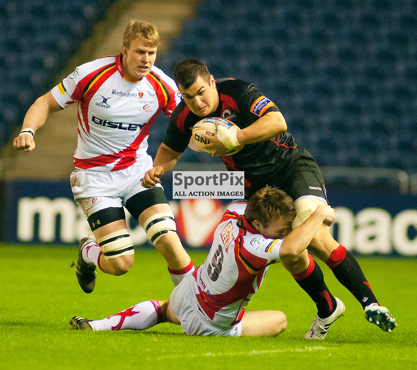 Edinburgh Rugby v Newport Gwent Dragons 23/03/2012 Rabodirect Pro12 League, Stuart McInally breaks the tackle off Joe Bedford