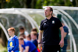 WREXHAM, WALES - Thursday, August 15, 2019: Wales Under-15 Head coach Richard Williams during the UEFA Under-15's Development Tournament match between Wales and Northern Ireland at Colliers Park. (Pic by Paul Greenwood/Propaganda)