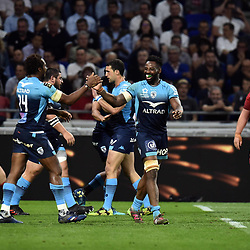 Team of Montpellier celebrate the fourth try during the Top 14 semi final match between Montpellier Herault Rugby and Lyon on May 25, 2018 in Lyon, France. (Photo by Alexandre Dimou/Icon Sport)