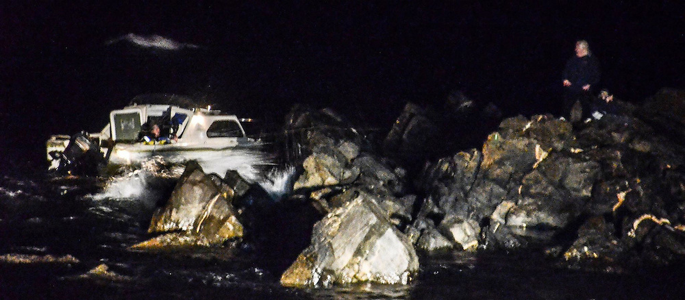 MEN RESCUED FROM BOAT NEAR FRASERBURGH , ABERDEENSHIRE ..  PIC OF THE BOAT NEXT TO ROCKS<br /> PIC DEREK IRONSIDE / NEWSLINE SCOTLAND