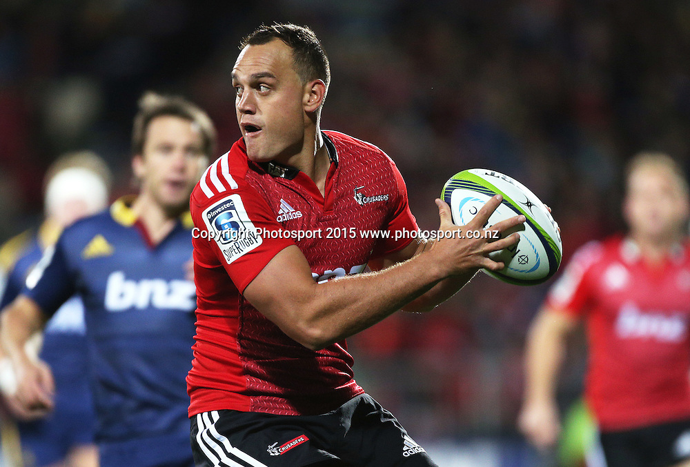 Israel Dagg of the Crusaders during the Investec Super Rugby game between the Crusaders v Highlanders at AMI Stadium i Christchurch. 11 April 2015 Photo: Joseph Johnson/www.photosport.co.nz