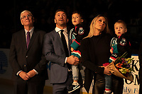 KELOWNA, CANADA - JANUARY 19: Kelowna Rockets' President and General Manager Bruce Hamilton stands on the ice next to former Kelowna Rockets' captain Josh Gorges and his family during his NHL retirement announcement on January 19, 2019 at Prospera Place in Kelowna, British Columbia, Canada.  (Photo by Marissa Baecker/Shoot the Breeze)