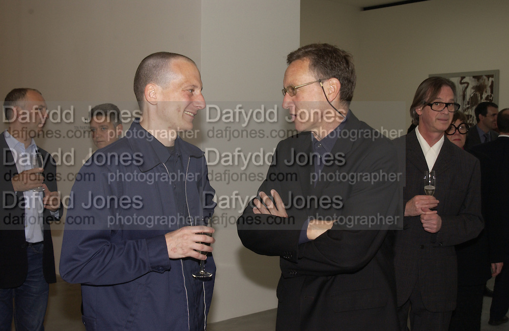 Adam Caruso and Richard Gluckman, Cy Twombly at the new Gagosian Gallery, Britannia St. 27 May 2004. ONE TIME USE ONLY - DO NOT ARCHIVE  © Copyright Photograph by Dafydd Jones 66 Stockwell Park Rd. London SW9 0DA Tel 020 7733 0108 www.dafjones.com