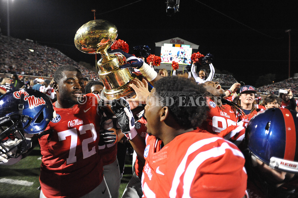 Ole Miss Rebels offensive lineman Aaron Morris (72) vs. Mississippi State at Vaught-Hemingway Stadium in Oxford, Miss. on Saturday, November 29, 2014. Ole Miss won 31-17.
