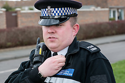 Police Community Support Officer on the beat in Crawley, Sussex