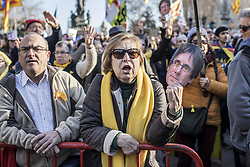 January 30, 2018 - Barcelona, Spain - Protesters seen shouting slogans during a demonstration to support Carles Puigdemont, former Catalan President in front of the Catalonia Parliament in Barcelona..Roger Torrent, President of the Catalonia Parliament, has finally canceled the parliamentary session who was scheduled for January 30, 2018 which could have form a new regional government. (Credit Image: © Victor Serri/SOPA via ZUMA Wire)