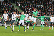 Saint-Etienne Defender Loic Perrin heads at goal during the Europa League match between Saint-Etienne and Manchester United at Stade Geoffroy Guichard, Saint-Etienne, France on 22 February 2017. Photo by Phil Duncan.