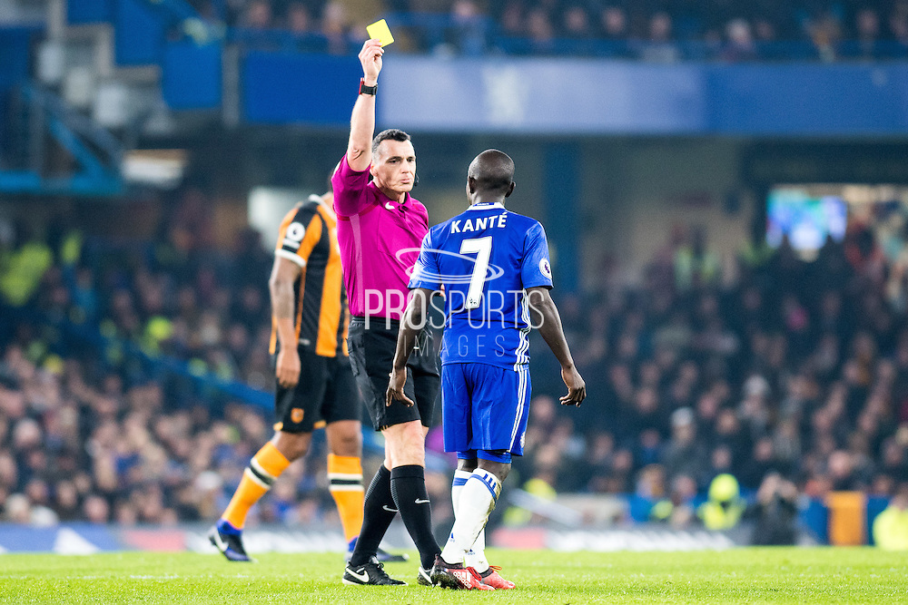 Chelsea midfielder Ngolo Kante (7) receiving yellow card during the Premier League match between Chelsea and Hull City at Stamford Bridge, London, England on 22 January 2017. Photo by Sebastian Frej.