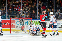 KELOWNA, BC - NOVEMBER 16: Leif Mattson #28 and Nolan Foote #29 of the Kelowna Rockets raise their sticks in the air after scoring a goal on Dylan Garand #31 of the Kamloops Blazers at Prospera Place on November 16, 2019 in Kelowna, Canada. (Photo by Marissa Baecker/Shoot the Breeze)