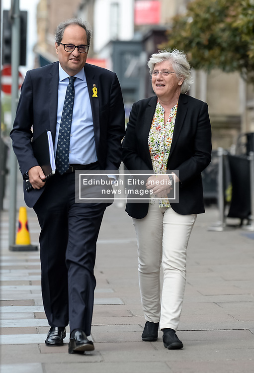 Pictured: Professor Ponsati arrives at the press conference with President Torra.<br /> <br /> Former Catalan Minister Clara Ponsati, who is fighting extradition to Spain following the controversial Catalan independence referendum last year met with the new President of the Catalonia Quim Torra on his first visit to Scotland, where he also met with First Minister Nicola Sturgeon<br /> <br /> © Dave Johnston / EEm