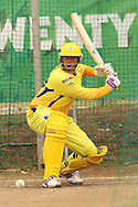 Matthew Hayden of the Chennai Super Kings looks to attack a delivery during the Superkings  training session held at St Georges Park in Port Elizabeth on the 17 September 2010..Photo by: Shaun Roy/SPORTZPICS/CLT20