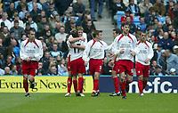Photo. Andrew Unwin, Digitalsport.<br /> Manchester City v Southampton, FA Barclaycard Premier League, City of Manchester Stadium, Manchester 17/04/2004.<br /> Southampton's goalscorer, James Beattie, is congratulated by his team-mate, Marian Pahars (17).