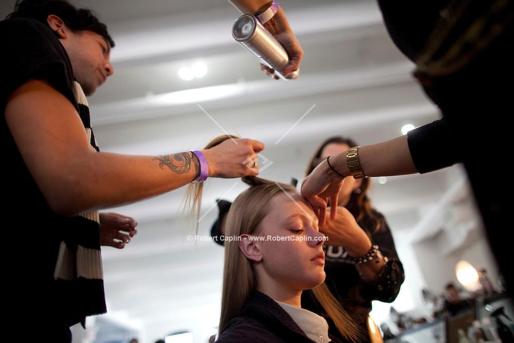 Backstage at the Jason Wu fashion show during New York Fashion Week...Photo by Robert Caplin.