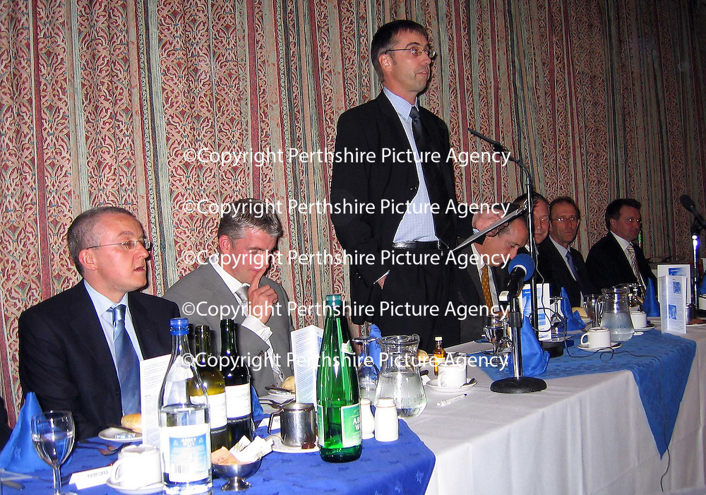 Jim Weir Testimonial dinner.....<br />Tam Cowan, Jim Weir, Gordon Bannerman, Willie Young, John Connolly<br />Picture by Graeme Hart.<br />Copyright Perthshire Picture Agency<br />Tel: 01738 623350  Mobile: 07990 594431