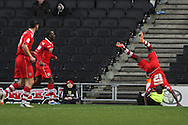 Picture by David Horn/Focus Images Ltd +44 7545 970036.26/12/2012.Febian Brandy of Walsall celebrates scoring Walsall's first goal with a cart-wheel during the npower League 1 match at stadium:mk, Milton Keynes.