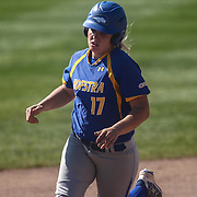Hofstra University Infielder Michaela Transue (17) hits a home run in the third inning Saturday, April 16, 2016, at Delaware softball stadium in Newark, Delaware.