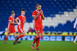 CARDIFF, WALES - Friday, November 24, 2017: Wales' Natasha Harding looks dejected after missing a chance during the FIFA Women's World Cup 2019 Qualifying Round Group 1 match between Wales and Kazakhstan at the Cardiff City Stadium. (Pic by David Rawcliffe/Propaganda)