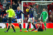 Alan McCormack (#4) of Luton Town FC and Pelly Ruddock Mpanzu (#17) of Luton Town FC appeal to referee Lee Probert after he gives a foul against them during the EFL Sky Bet League 1 match between Sunderland AFC and Luton Town at the Stadium Of Light, Sunderland, England on 12 January 2019.