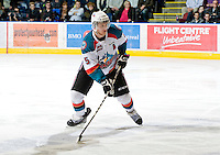 KELOWNA, CANADA, JANUARY 4: Mitchell Chapman #5 of the Kelowna Rockets skates on the ice as the Spokane Chiefs visit the Kelowna Rockets on January 4, 2012 at Prospera Place in Kelowna, British Columbia, Canada (Photo by Marissa Baecker/Getty Images) *** Local Caption ***